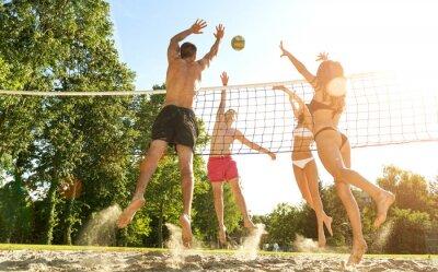 Fotomural Grupo amigos novos que jogam o voleibol na praia