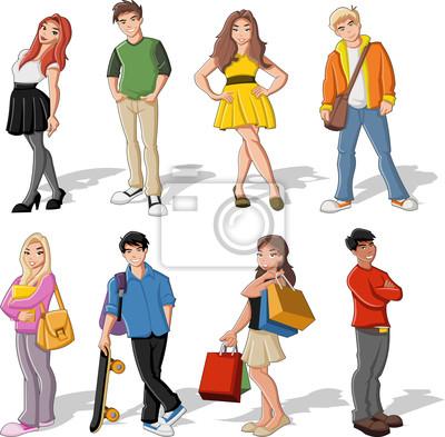 Grupo De Criancas Coloridos Dos Desenhos Animados Adolescentes