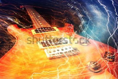 Fotomural Guitarra elétrica cercada com relâmpagos