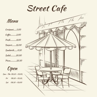 Fotomural Hand drawn street cafe background