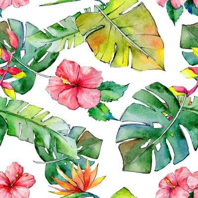 Fotomural Hawaii tropical deixa padrão em um estilo de aquarela. Aquarelle flor selvagem para fundo, textura, padrão de invólucro, moldura ou borda.