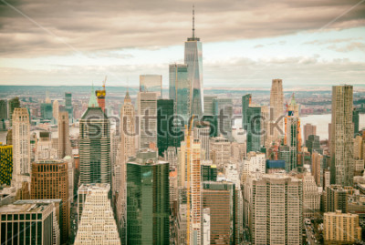 Fotomural Helicopter view of Downtown Manhattan skyscrapers, New York City.