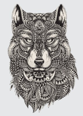 Fotomural Highly detailed abstract wolf illustration