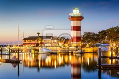 Fotomural Hilton Head, Carolina do Sul, EUA Farol no crepúsculo