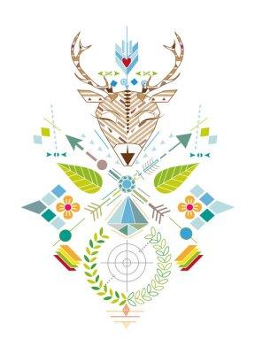 Fotomural Hirschjagd - Grafisches Muster com Hirschkopf, Zielscheibe, Pfeile, Blätter und Blüten