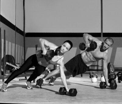 Fotomural Homem da ginástica e uma mulher de força push-up flexão