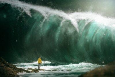 Fotomural Homem, frente, tsunami