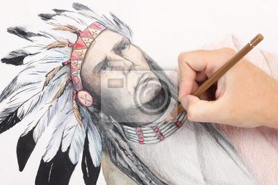 Homem Mao Imagem Lapis De Desenho Com Chefe Indio Americano
