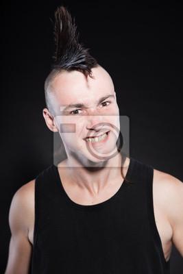 Fotomural Homem Punk Rock Com Corte De Cabelo Moicano Contra Um Fundo Preto