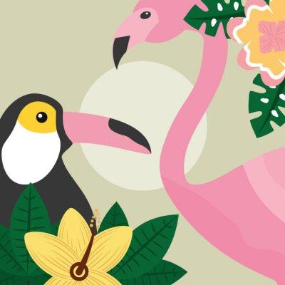 Fotomural horário de verão aves tropicais Tucano e ilustração vetorial de flamingo