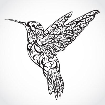 Fotomural Hummingbird. Arte da tatuagem.