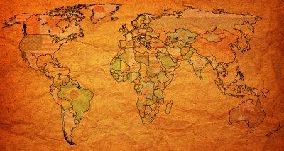 Fotomural hungria território no mapa de mundo
