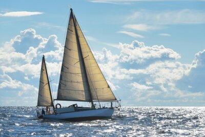 Fotomural Iate, velejando, ensolarado, Dia, Riga, baía