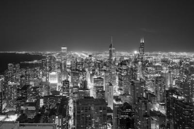 Fotomural Ideia aérea da skyline do centro de Chicago no por do sol do alto acima.