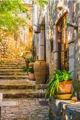 Fotomural Idílico, vista, mediterrâneo, rústico, casa, pedra, escadas