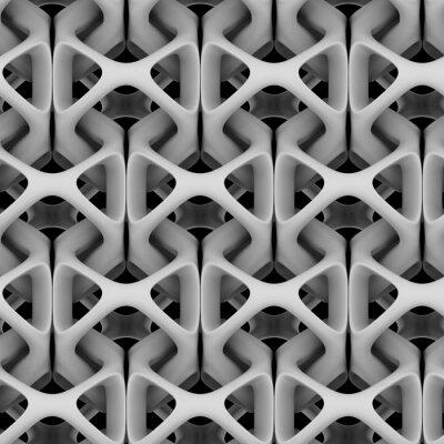 Fotomural Ilustração 3d, cadeia abstrata matte branca em um fundo preto