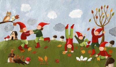 Fotomural Ilustração acrílica dos miúdos bonitos - anões dançando no fa
