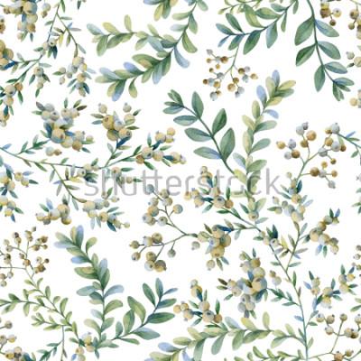 Fotomural Ilustração botânica. Impressão botânica. Padrão sem emenda