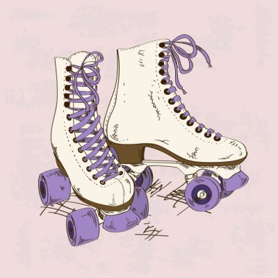 Fotomural Ilustração com patins retro rolo