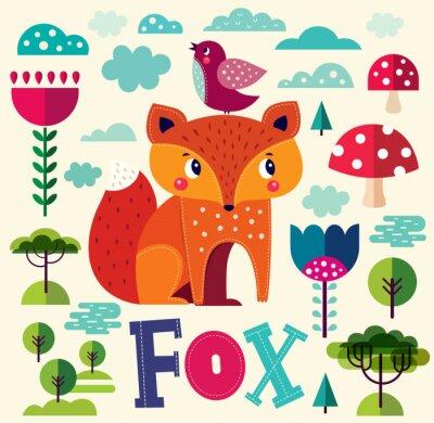 Fotomural Ilustração com raposa e outros elementos