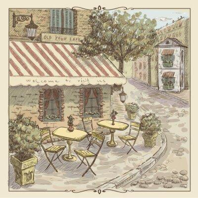 Fotomural Ilustração da aguarela do vintage da rua do café na cidade velha
