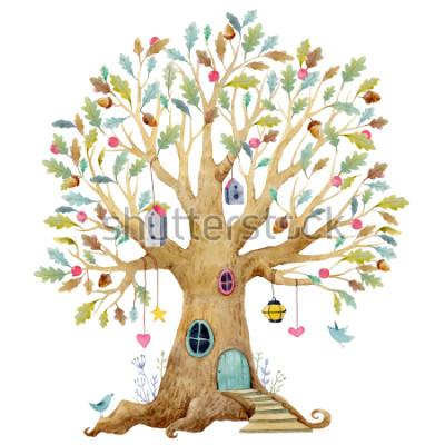 Fotomural Ilustração da árvore as crianças da aguarela, árvore genealógica, árvore genealógica. árvore de fadas bonito, ilustração infantil