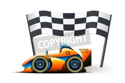Fotomural Ilustração da fórmula um e bandeira nele no fundo branco