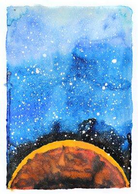 Fotomural Ilustração da galáxia da aguarela. Planeta Marte.