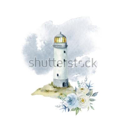 Fotomural Ilustração de aquarela com farol, nuvens e para buquê de flores