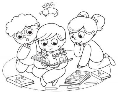 Fotomural Ilustração de coloração de amigos lendo um livro pop-up juntos.