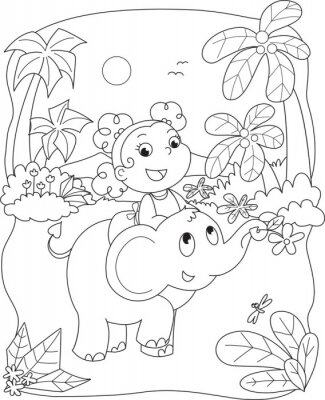 Fotomural Ilustração de coloração de uma menina andando de elefante