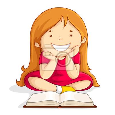 Ilustracao De Crianca Lendo Livro Aberto Sentado No Chao Fotomural