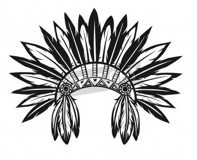 Ilustracao De Um Cocar Indigena Em Um Fundo Branco Fotomural