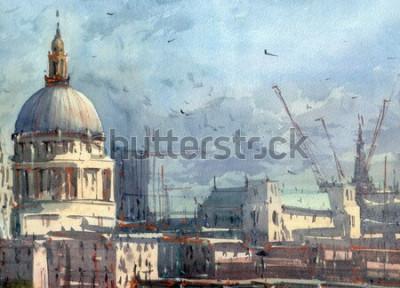 Fotomural ilustração de vista da cidade em aquarela