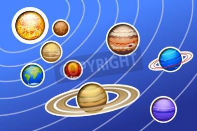 Fotomural Ilustração, desenhado, solar, sistema, linhas, azul, fundo