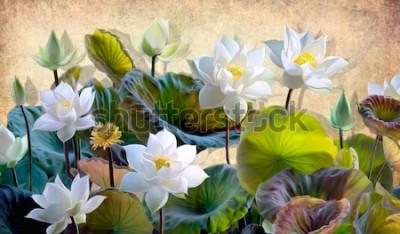 Fotomural Ilustração digital de uma florescência branca Lotus floresce com folhas verdes em um fundo de paredes bege no sótão. Papéis de parede e murais para impressão de interiores.