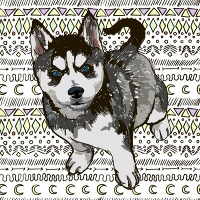Fotomural Ilustração do cão raça Husky