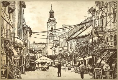 Fotomural ilustração do esboço do vetor de Uzhgorod paisagem urbana