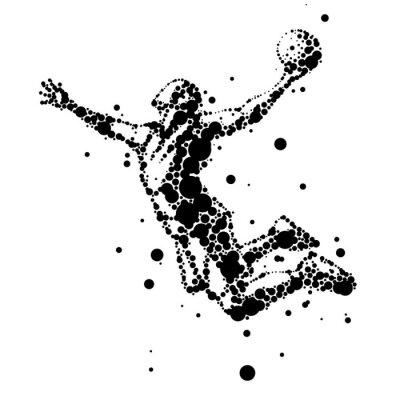 Fotomural ilustração do jogador de basquete resumo em salto