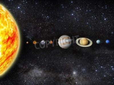 Fotomural Ilustração do nosso sistema solar - 3D Reender Maps from http planetpixelemporium com