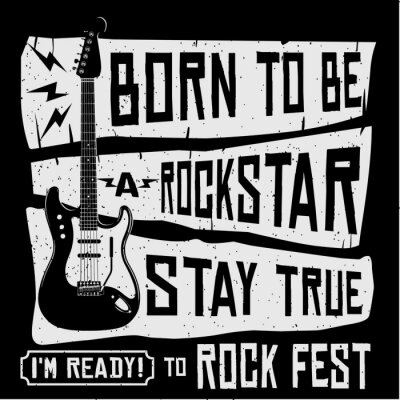 Fotomural Ilustração do poster ou da camisa do vetor T do festival de música rock