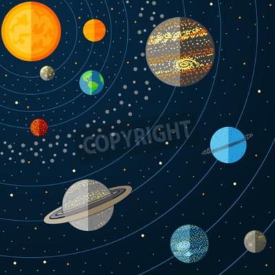 Fotomural Ilustração do sistema solar com planetas. Vector a ilustração