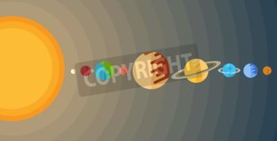 Fotomural Ilustração do sistema solar em um estilo liso.