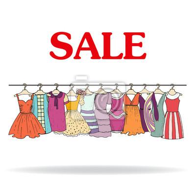 f1cdb4a62 Ilustração do vetor com venda de roupas para mulheres fotomural ...
