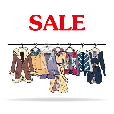 d0b076876 Ilustração do vetor com venda de vestuário feminino fotomural ...