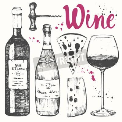 Fotomural Ilustração do vetor com vidro de vinho, corkscrew, frasco, champanhe, queijo. Bebida alcoólica clássica.
