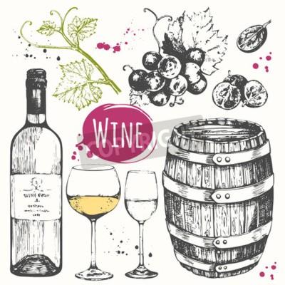 Fotomural Ilustração do vetor com vinho barril, vidro de vinho, uvas, galho de uva. Bebida alcoólica clássica.