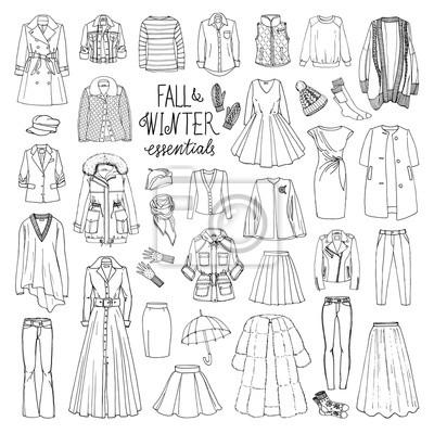 1891cf124 Fotomural Ilustração do vetor da queda da mulher e coleção da forma do  inverno da roupa