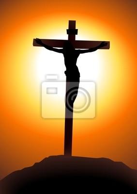 ilustração do vetor de jesus cristo na cruz fotomural fotomurais