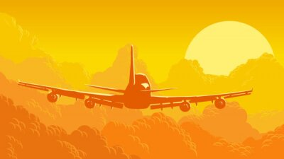 Fotomural Ilustração do vetor do céu e das nuvens com os aviões do vôo.